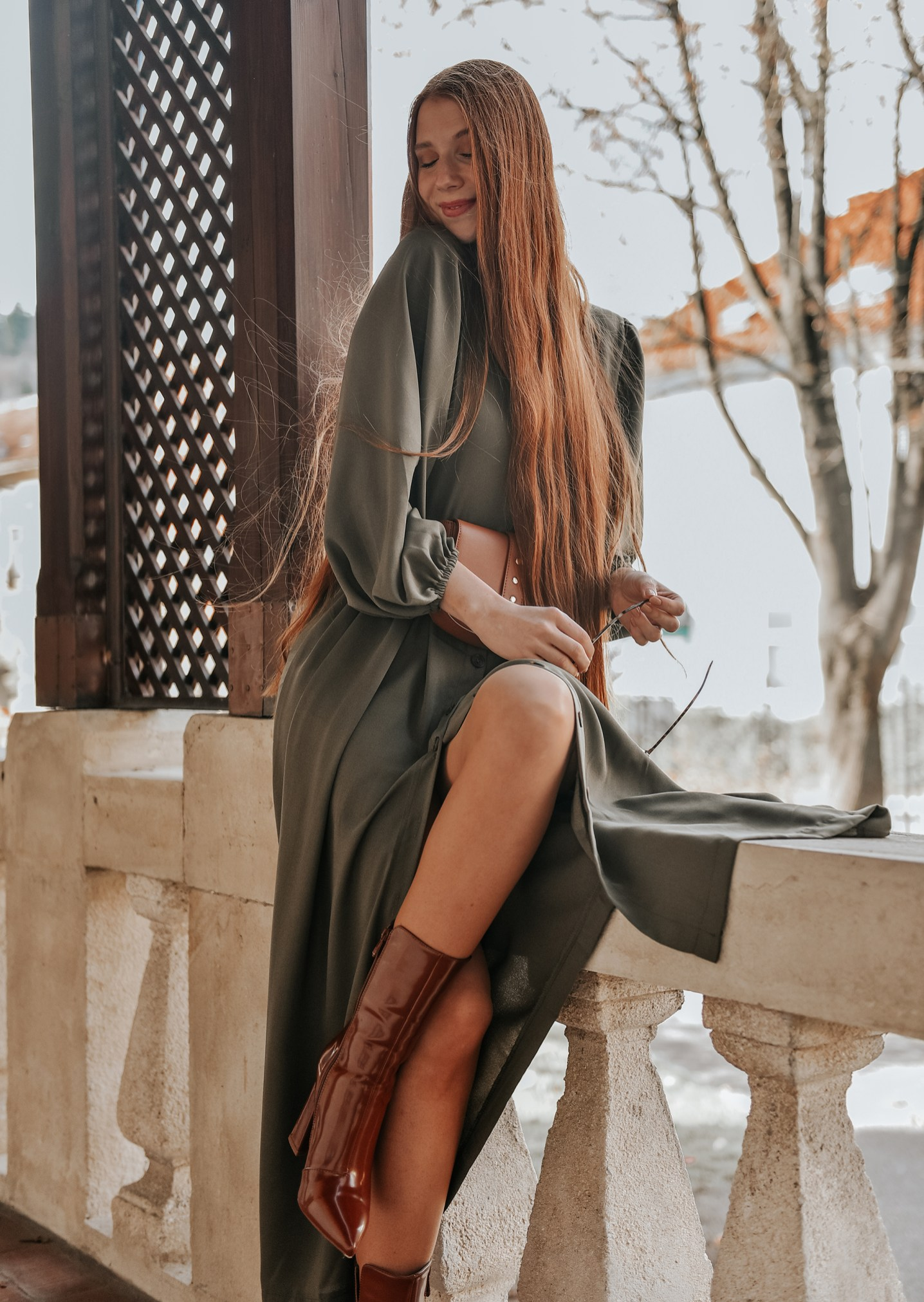 Shein Khaki Maxi dress