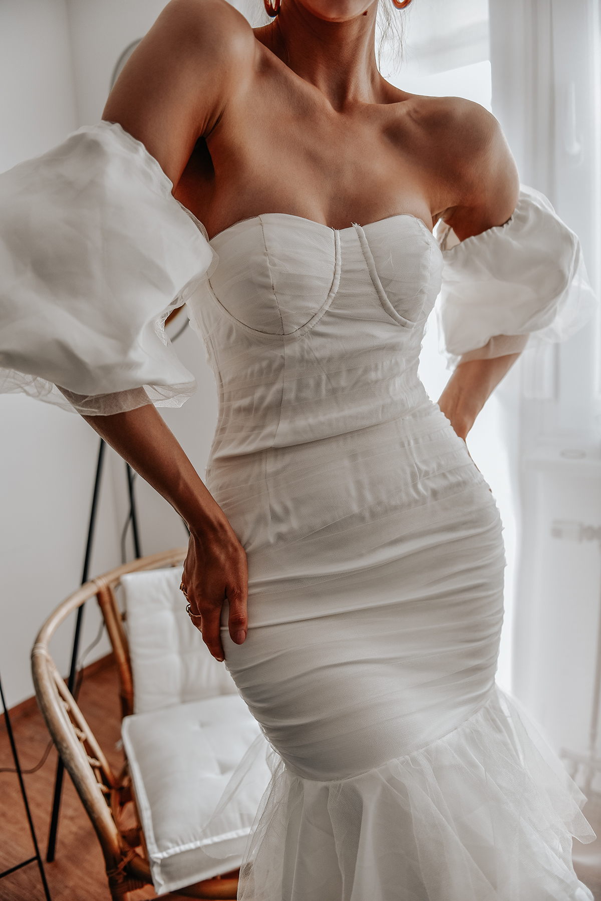 Forever 21 Ruched white maxi dress