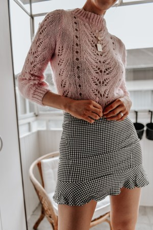 Ruffle Hem Checked Zip Up Skirt