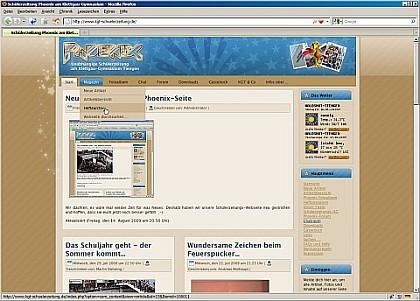Die erneuerte Phoenix-Schülerzeitungsseite - in Azur und Karamell mit Sternchen...