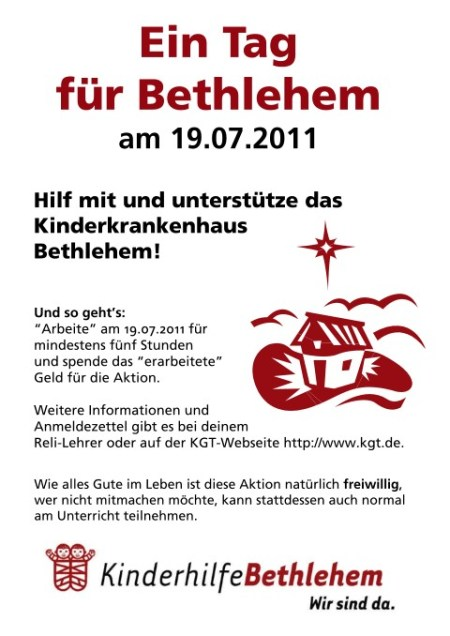 Tag für Bethlehem Plakat KGT 2011