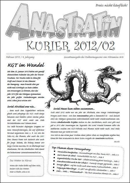 Jetzt neu am KGT: Der Anastratin Kurier, Ausgabe Februar 2012!