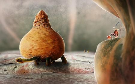 Unterirdische Landschaft mit Riesenschildkröte, auf welche die Helden in einem späteren Level treffen. Was man auf dem Bildschirmfoto nicht erkennen kann, sind die liebevollen Animationen, beispielsweise die oben um die Schildkröte kreisenden winzigen Möwen.