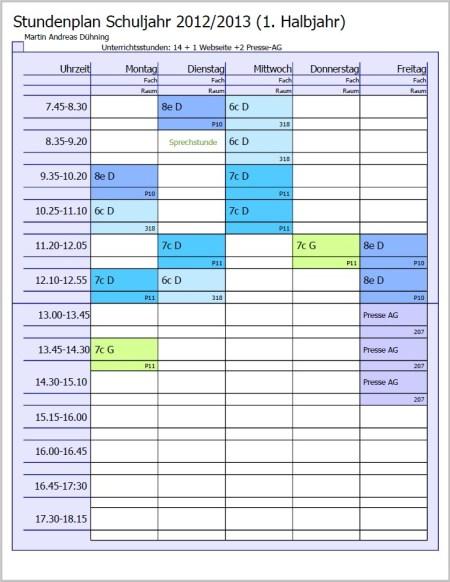 Der Stundenplan von Herrn Dühning im Schuljahr 2012/2013 weist deutlich weniger Unterrichtsstunden auf, wegen Löchern im Stundenplan wird er trotzdem länger an der Schule sein.