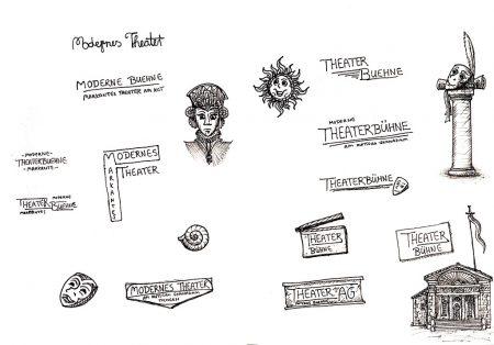 """In einer GLK des Schuljahres 2008/2009 entstand auch das Logo der """"Markanten Theaterbühne"""" von Marion Tscherning. Entwürfe und Skizzen zu den ersten """"Perforierten Lyrixx"""" finden sich dagegen im großen Skizzenbuch."""