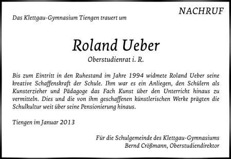 Offizieller schulischer Nachruf auf Roland Ueber