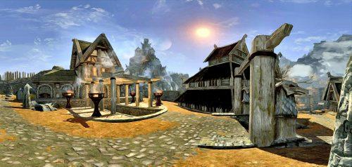 Sonnige City von Weißlauf mit Blick auf die Drachenfeste des Jarls.