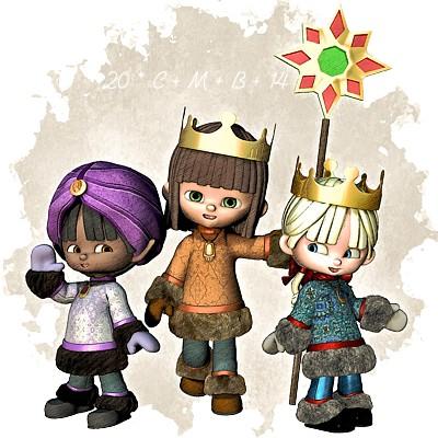 Drei kleine Niarts-Sternsinger