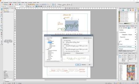 Das DTP-Programm Serif PagePlus X9 unterstützt Opentype-Features.