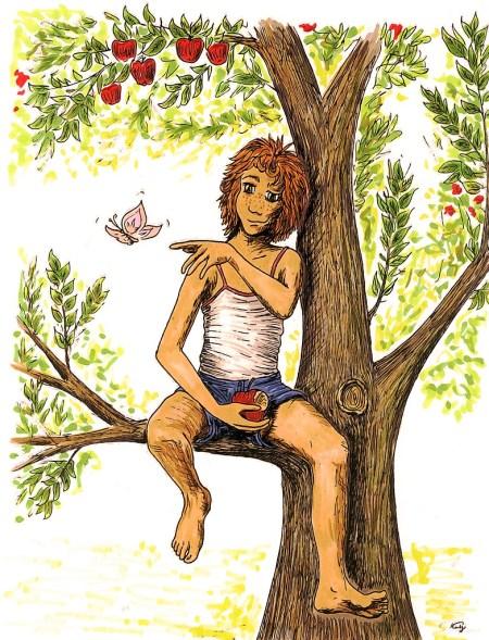Künftig können nitramische Kinder die Apfelernte ganz ausgiebig feiern (Zeichnung: Martin Dühning)