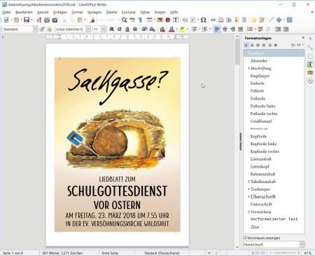 Liedblatt zum Schulgottesdienst vor Ostern am Hochrhein-Gymnasium - gelayoutet mit LibreOffice (Screenshot)
