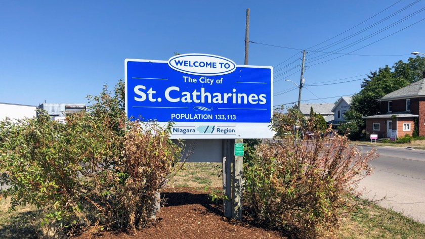 Welcome to St. Catharines sign near Thorold