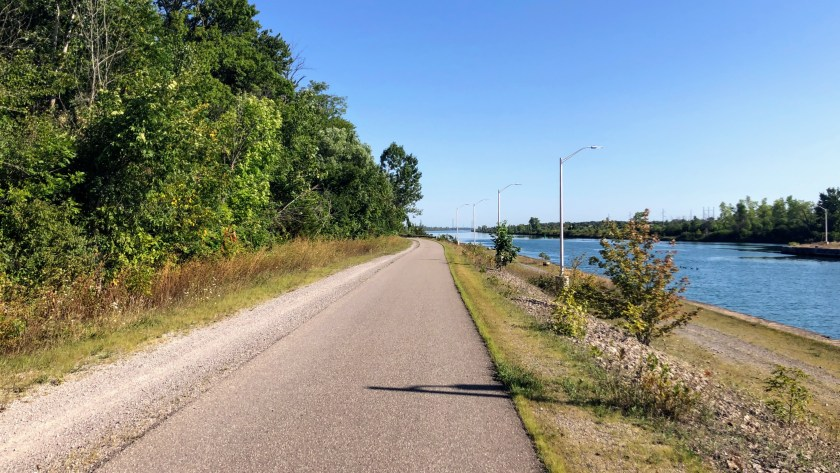 A typical section of trail along the Welland Canal.
