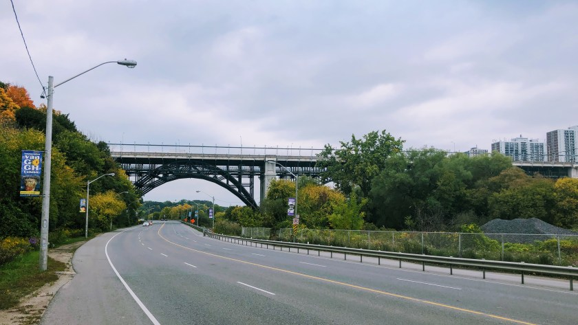 Looking back at the Bloor Viaduct off Bayview