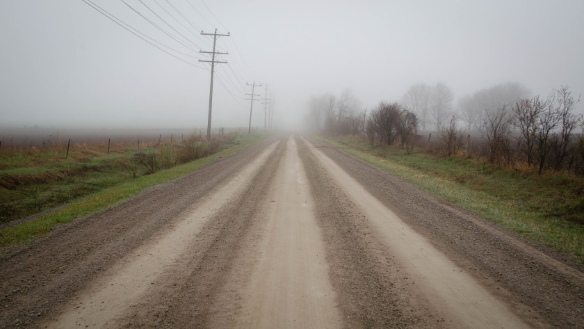 Foggy Old Simcoe Rd near the start of the Tour of Scugog.