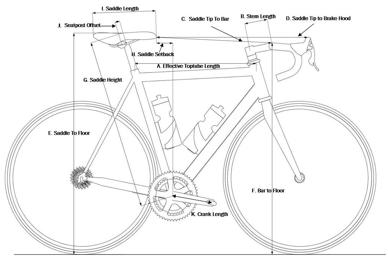 hight resolution of race bicycle structure length diagram