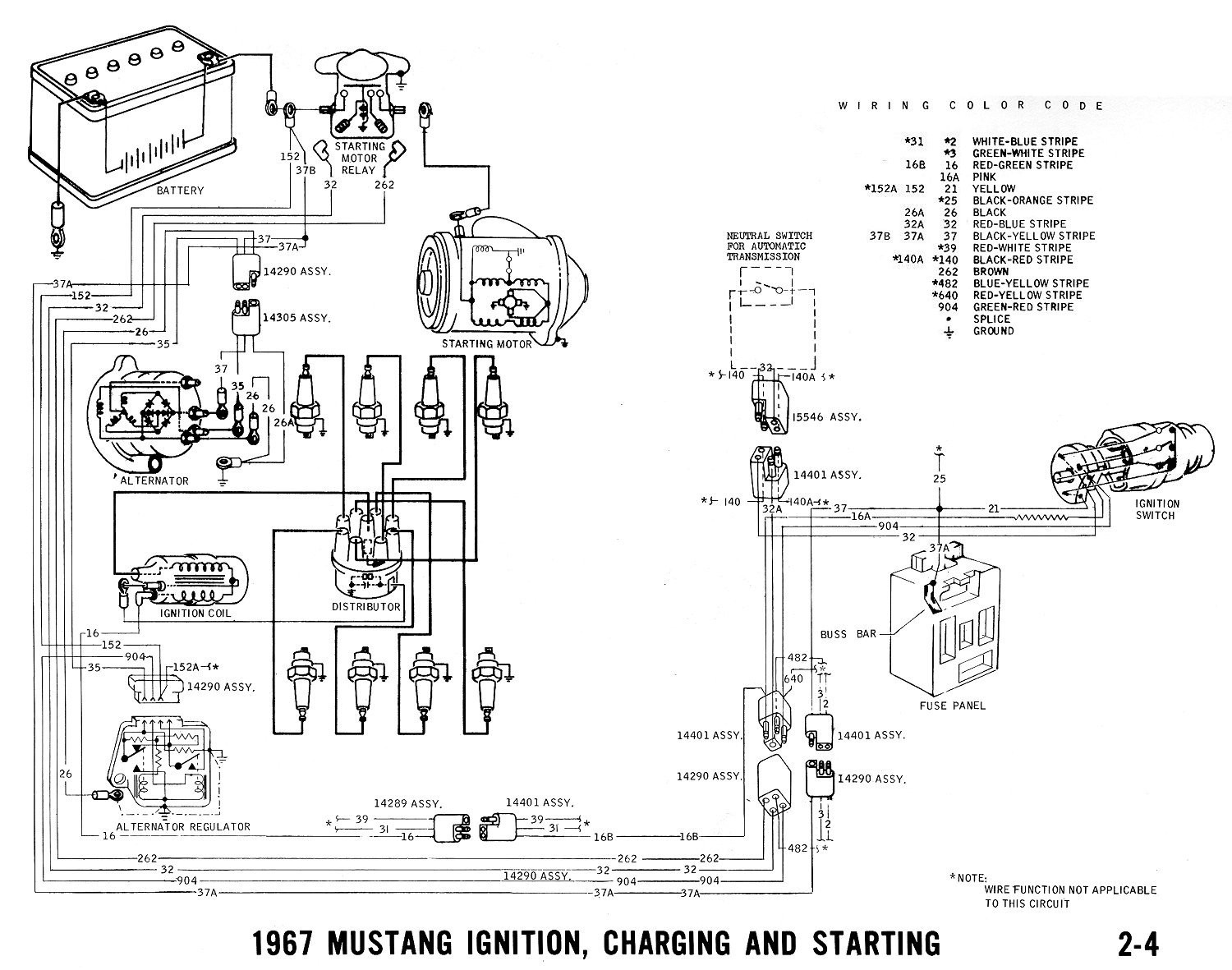 1967 Mustang Ignition, Starting And Charging Diagram