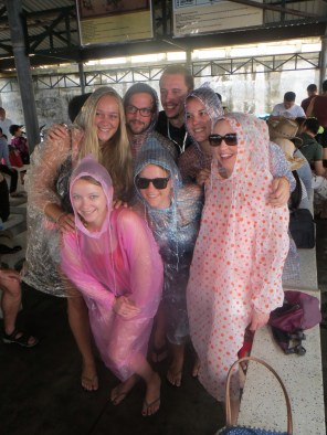 Poncho Party! It was raining before we boarded our party boat at 9am