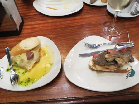 My selection of pinxhos - northern style of tapas where you select from the range on the counter - consumed in the old town