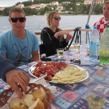 Home made cheese, prosciuto and wine on the boat back from the Korcula buggy safari