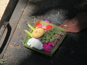 Balinese religious offering at Ubud villa