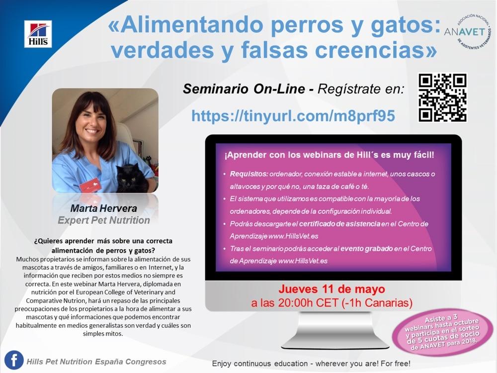 Webinar 'Alimentando perros y gatos: verdades y falsas creencias' con Marta Hervera