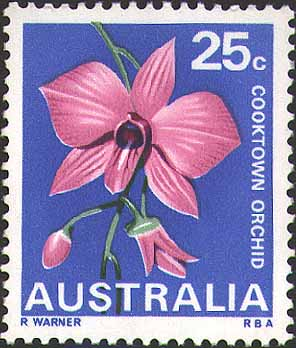 25-cent Cooktown Orchid stamp issued on 10 July 1968