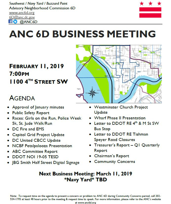 February Anc March 2019 Calendar February 11 Business Meeting Announcement – Advisory Neighborhood