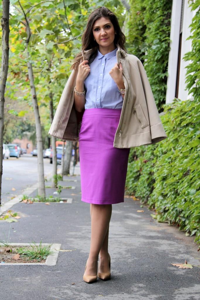SENSE fusta mov si camasa bleu tinuta office toamna