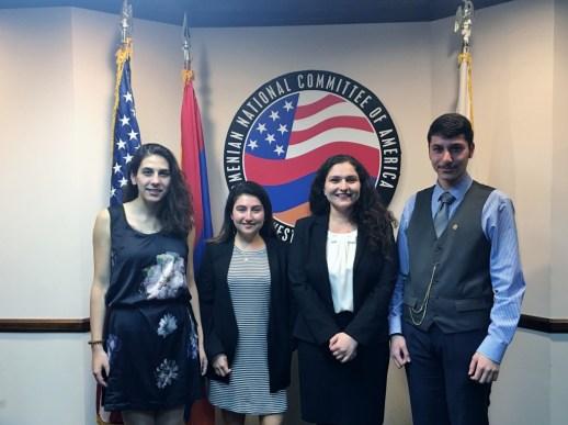 ANCA-WR 2016 Spring Internship Class from left: Lusine Aslanyan, Nayiri Partamian, Michelle Khazaryan, and Vazgen Barsegian