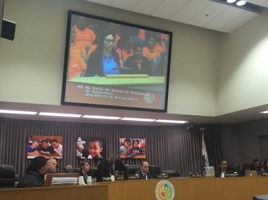 ANCA-WR Government Affairs Director Tereza Yerimyan offering her remarks on the LAUSD Resolution.