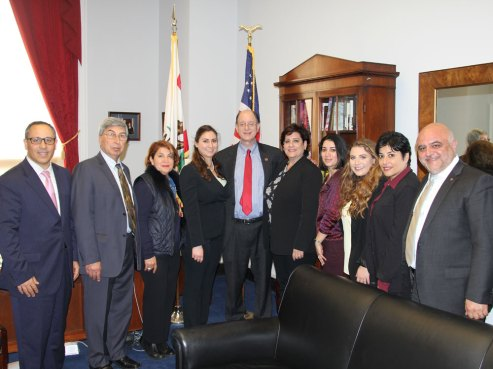 Senior House Foreign Affairs Committee Member Brad Sherman (D-CA) with ANCA National Board and Regional leaders and Vardan Tadevosyan, Director of the Lady Cox Rehabilitation Center in Karabakh during the ANCA Fly-In for NK Peace earlier this year