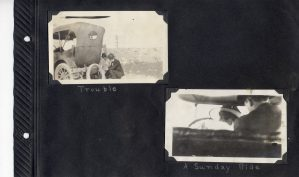 Photo album page, two photos of a Sunday car ride, one showing car trouble.