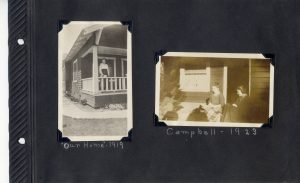 Photo album page, woman on porch of house in 1919 and two women on porch in Campbell, 1923.