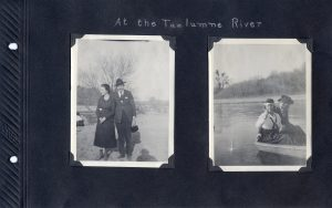Photo album page of two photos at the Tuolumne River, one with a couple on land, the other of a couple in a boat