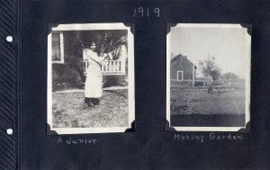 Photo album page of two photos, one a young women outside on the side of the house, the other of a man tending the garden with the house in the background