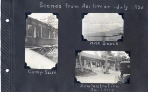 Photo album page of three photos of Asilomar and Moss Beach in 1920
