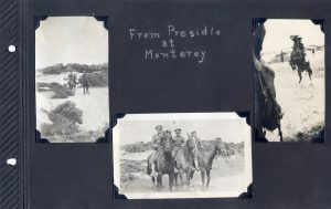 Photo album page, three photos of men in uniform on horses at the Presidio in Monterey