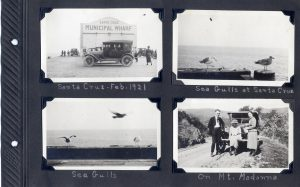 Photo album page, four photos of scenes in Santa Cruz