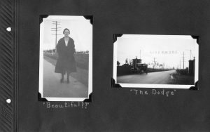 Photo album page, two photos of trip to Livermore, one of a young woman in the road, the other of the Dodge that took them there