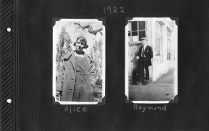 Photo album page, two photos, one of a young woman, the other of a young man, in 1922.