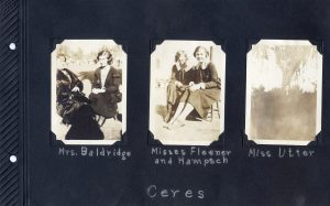 Photo album page, three photos of women who are probably school teachers, in Ceres in 1924