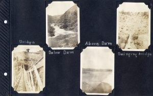 Photo album page, four photos of Don Pedro dam and environs in 1924.