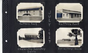 Photo album page, two photos of Sutter's Fort and two of the campus at Davis