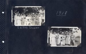 Two photos of a group of women at a wedding shower in 1918.