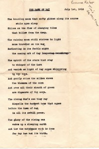 Poem by Tim's Grandmother Emma Kelso