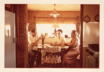 Tim, Jeannette, Alice Van Horn mobile home in Oroville