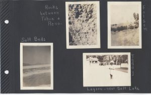 Sundry Photos. The Salt Beds. Rocks between Tahoe and Reno. Folsom. And an unidentified boy named Teddy at the Lagoon near Salt Lake.
