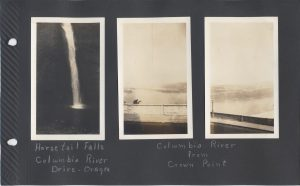 I believe the following pages are all of one trip, called the trip to Canada, in July 1931. It seem Aunt Irene (Ludwig) and Uncle Pete (Cletus Burns) went with the Boyds, Ernest and Eva on this trip. Three photos here are of the Columbia River in Oregon, including Horsetail Falls.