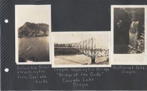 The Columbia River at the border with Oregon and Washington; the Oregon-Washington 'Bridge of the Gods' at Cascade Locks; and Multnomah Falls, Oregon